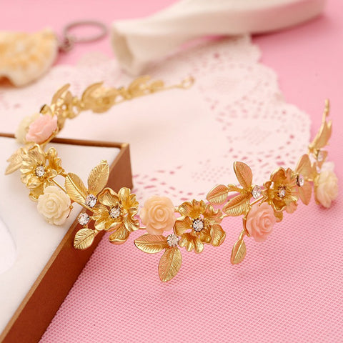 gold color flower rhinestone tiara hair jewelry for bride