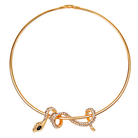 crystal snake shape choker necklace for women