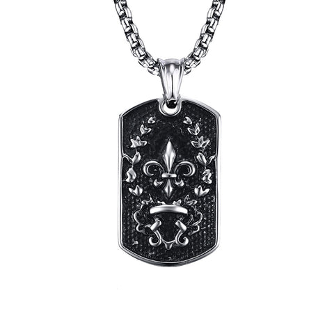 black color stainless steel dog tag pendant necklace for men