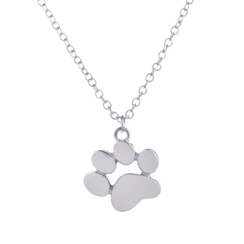 simple dog paw print pendant necklace for women