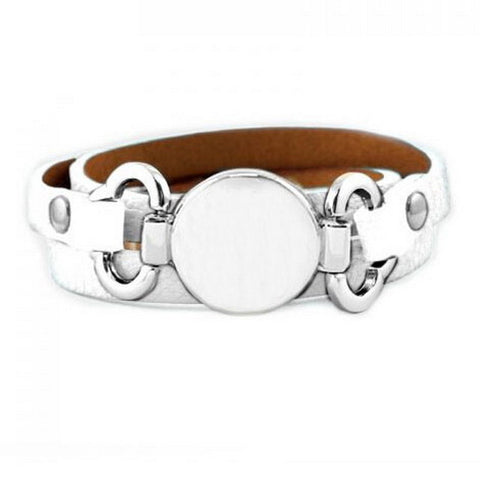 multiple wrap leather with blank disc leather bracelet