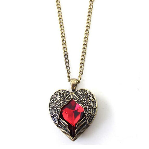 hollow heart red crystal pendant necklace for women