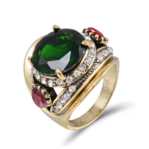 vintage antique gold color green crystal stone ring for women