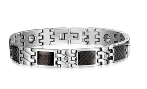 carbon fiber stainless steel magnetic health bracelet