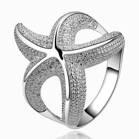 silver color cz zircon sea star ring for women