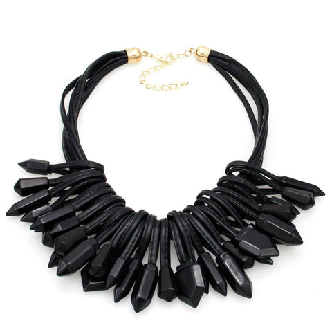 multilayer leather chain acrylic beads necklace for women