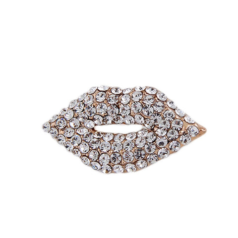 trendy sexy rhinestone crystal lips shaped brooch pin jewelry