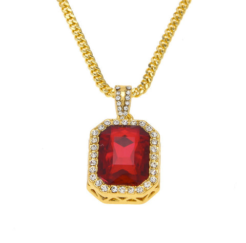 hip hop style iced out rhinestone square crystal pendant necklace