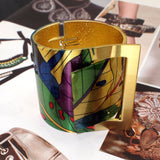 painting design opened big cuff bangle bracelet for women