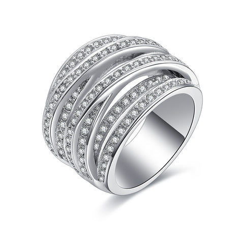 silver color multilayer mosaic zircon crystal ring for women