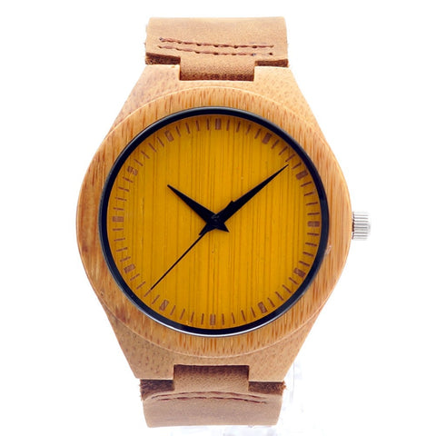 trendy colorful dial bamboo wood leather strap wrist watch