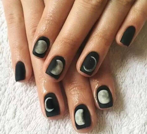 24 pcs cool black moon eclipse design false nails for women