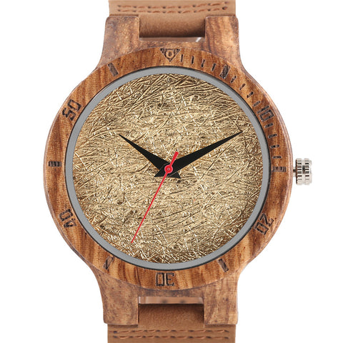 trendy spun gold face bamboo wood quartz wrist watch