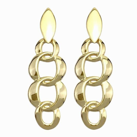 trendy geometric shape chain stud earrings for women