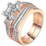 elegant white color zircon rose gold color rings for women