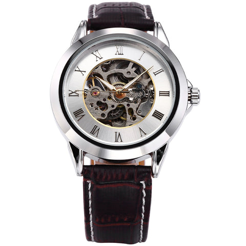 luxury mechanical skeleton case leather band watch for men