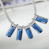 blue crystal square pendant necklace for women