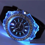 trendy led backlight crystal quartz sport wrist watch