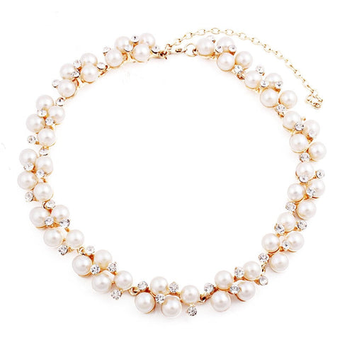 elegant simulated pearl & crystal statement necklace for women