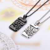 stainless steel mechanical gear necklace & pendant