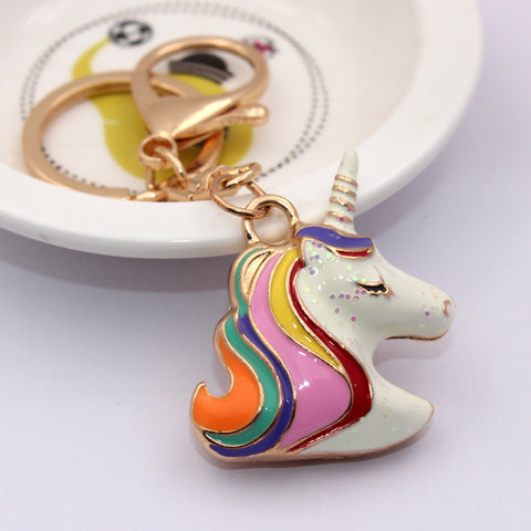 cute 3d rainbow color unicorn key chain holder for women