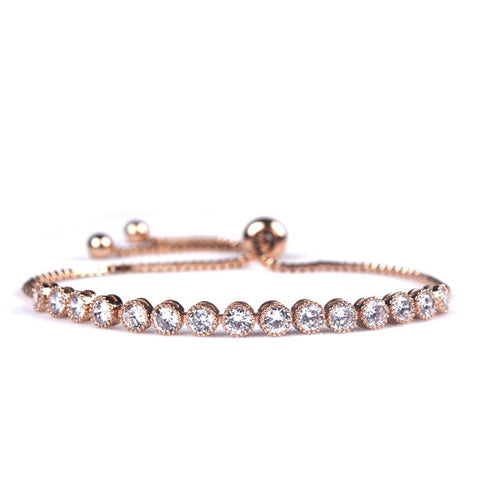 classic round cubic zircon crystal adjustable bracelet for women