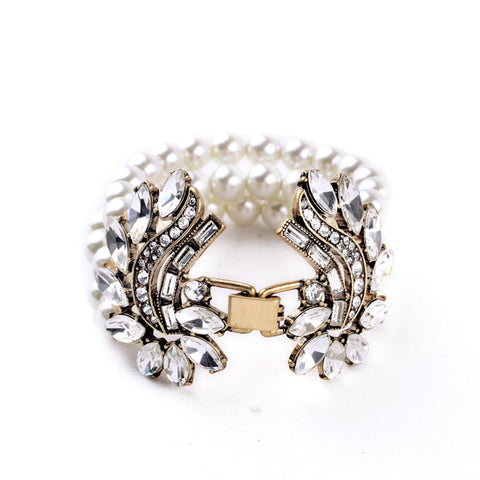 vintage imitation pearl crystal flower charm bracelet & bangle