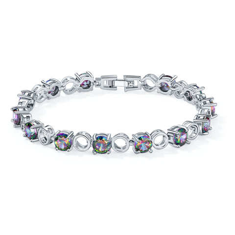 colorful round cubic zirconia bracelet & bangle for women