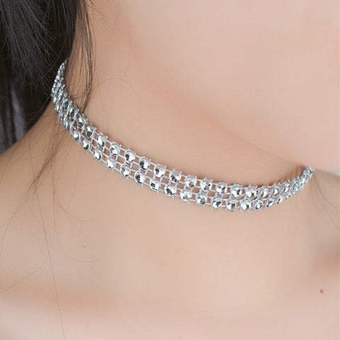 2 rows crystal choker necklace for women