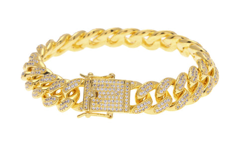 iced out thick gold cz curb cuban link bracelet for men