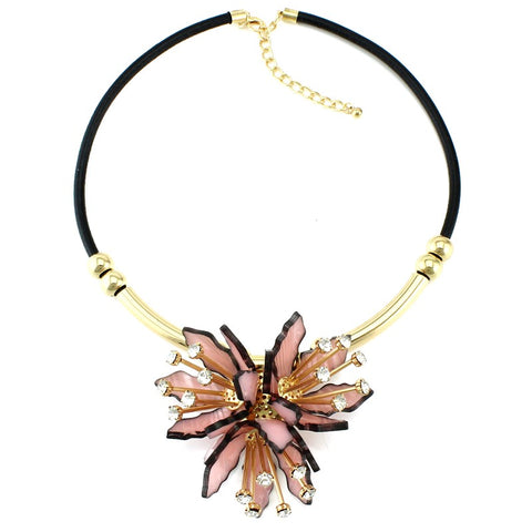 luxury rhinestone flower collar statement necklace for women