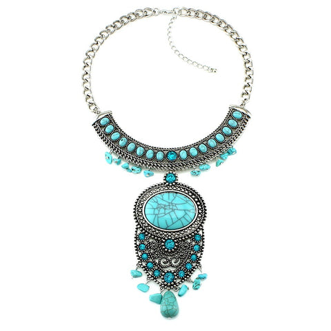 metal statement natural stone necklace & pendant for women