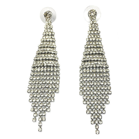 luxury rhinestone crystal tassel long drop earrings for women