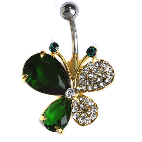 stainless steel butterfly piercing navel belly button ring