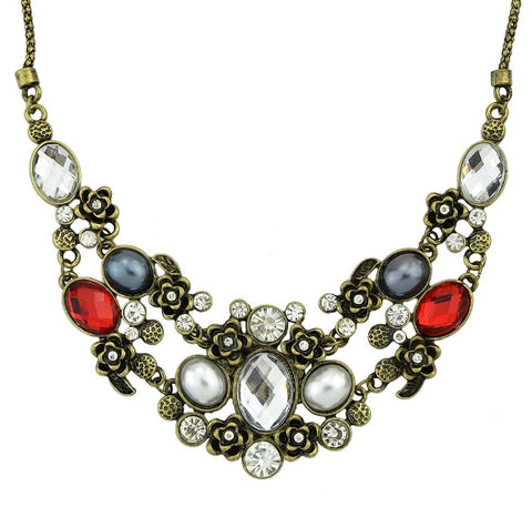 vintage chain necklace with colorful rhinestone for women
