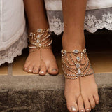 gold color multi layer crystal link chain anklet for women