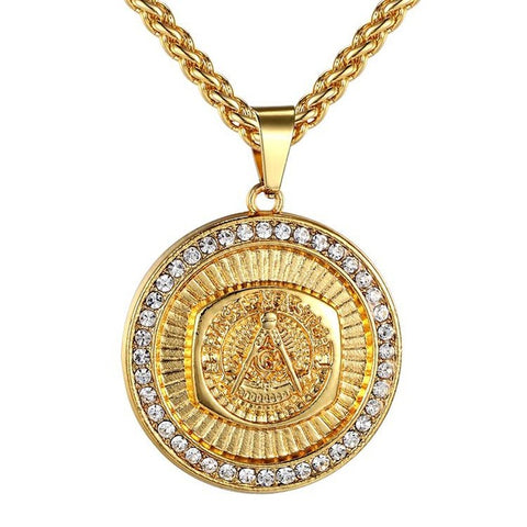 hip hop style luxury pendant gold color chain necklace for men