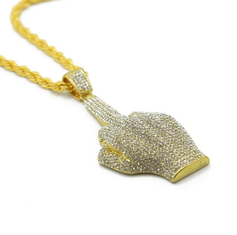 hip hop style iced out big finger hand pendant necklace