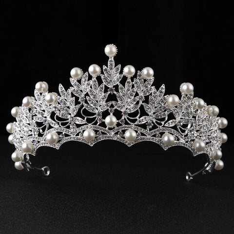 pearl & rhinestone tiara crown bridal hair jewelry