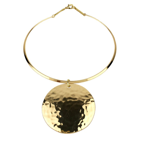 gold/silver color big circle metal pendant torques necklace