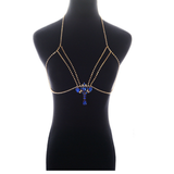 sparkling blue crystal water drop body necklace for women