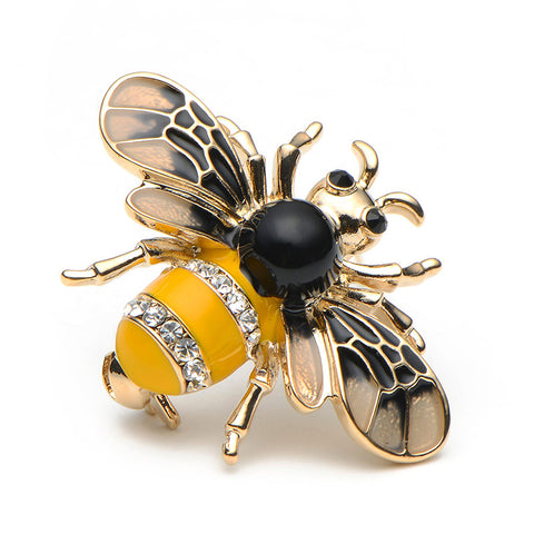 cute little bee metal & crystal brooch pin for women