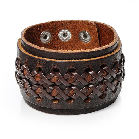 punk braided leather wide cuff bracelet for men