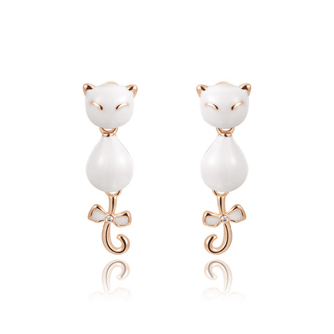 cute cat gold color white oil drip stud earrings for women