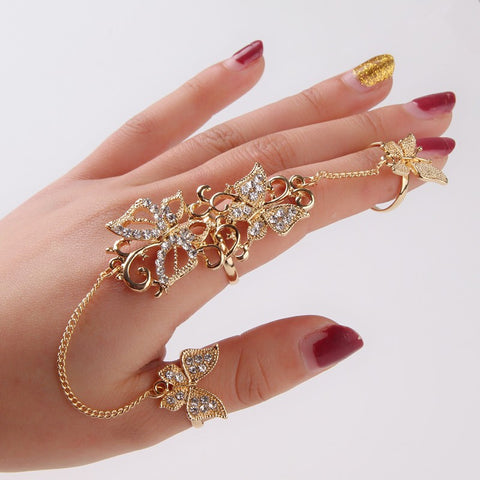rhinestone flower & butterfly gold chian double rings for women