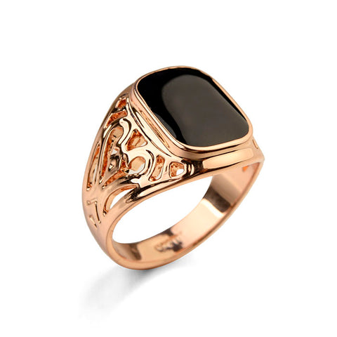 vintage gold color black square stonering for men