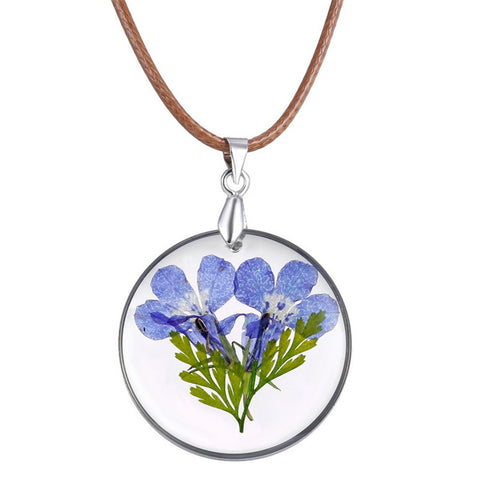 trendy dried purple flower glass pendant necklace for women