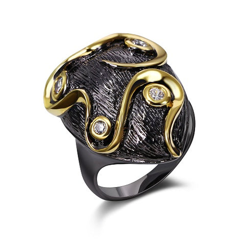bohemia cz stone black gold color ring for women