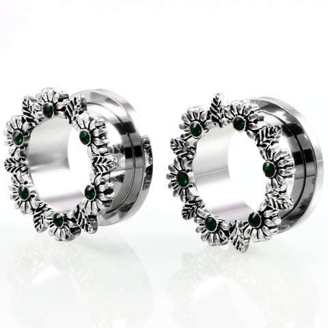 steel flower ear plugs and tunnels crystal earrings