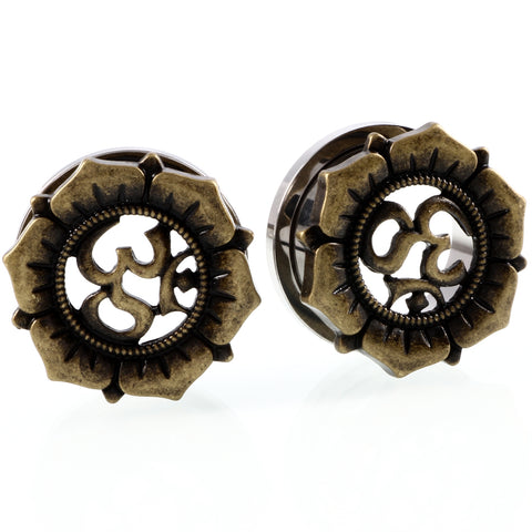 vintage steel ear plugs and tunnels shamballa flower earrings